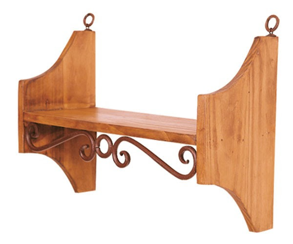 Medium Wooden Shelf With Iron Accent Rustic Dining Furniture ...