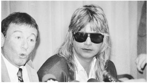 "In one of several controversial lawsuits that blame rock music for a suicide death, Ozzy Osbourne, at a 1986 press conference in Los Angeles, denied all allegations that his song ""Suicide Solution"" was responsible for the death of a young boy who shot himself. BETTMANN/CORBIS"