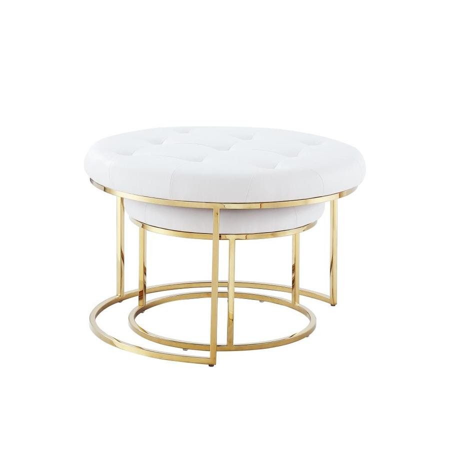 Nicole Miller Draven Modern White Gold Round Ottoman In The Indoor Ottomans Department At Lowes Com