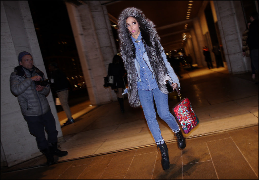 FW 2014-2 -29 w hooded fur vest all blue denim jacket shirt jeans black platform lace up boots red print bag ol