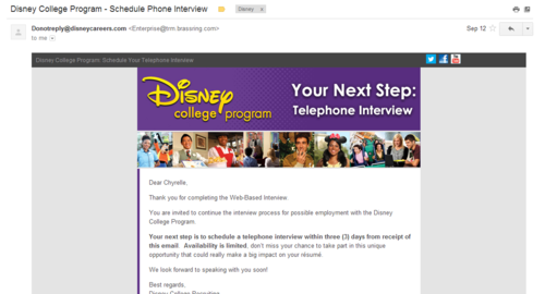 Disney College Program Telephone Interview