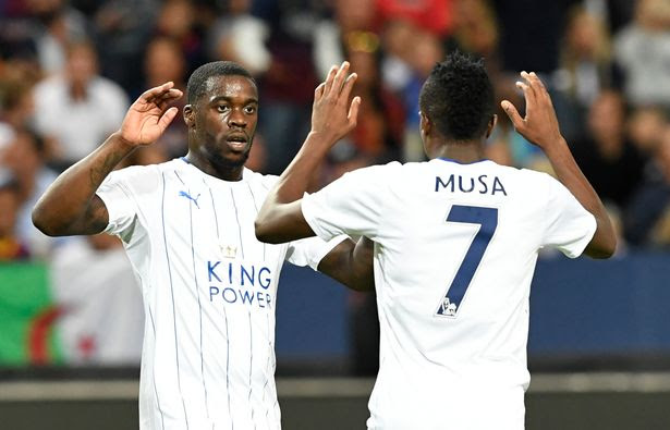 Ahmed Musa celebrates with Jeff Schlupp after scoring