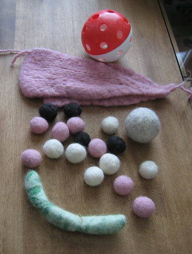 felted balls and ears