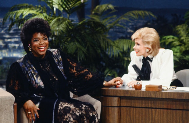 Talk show host Oprah Winfrey during an interview with guest host Joan Rivers on the Tonight Show on January 27, 1986
