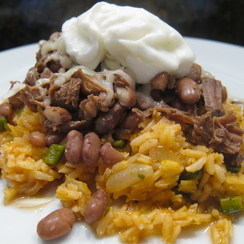 Crockpot Beef & Beans over Mexican Rice