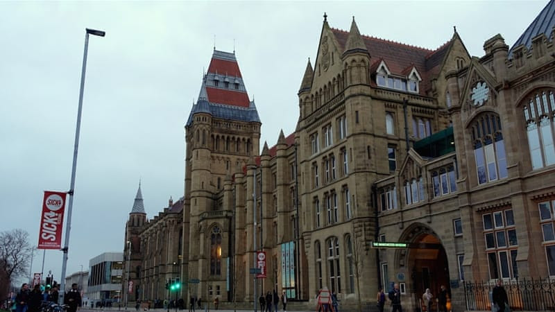 The University of Manchester says it allows third party events but does not endorse them [Al Jazeera]