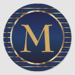Stripe Dark Blue & Gold Monogram Envelope Seal Classic Round Sticker
