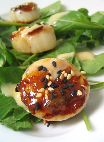 Seared Sea Scallops with Yuzu Ginger Glaze and Miso Sesame Dressing