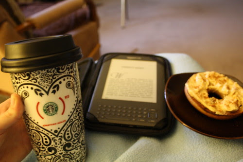 morning routine--coffee, kindle, bagel
