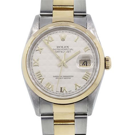 Rolex Datejust 16203 Pyramid Dial Two Tone Oyster Band Watch