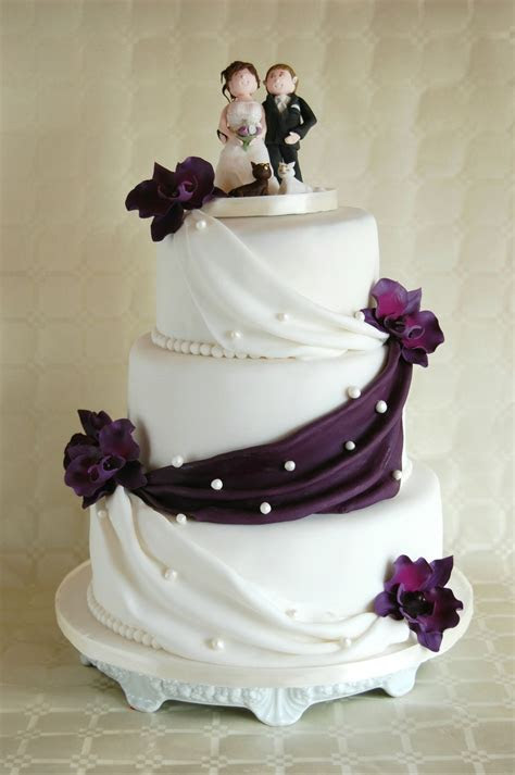 Simple Elegant Wedding Cake Lilac Orchids   CakeCentral.com