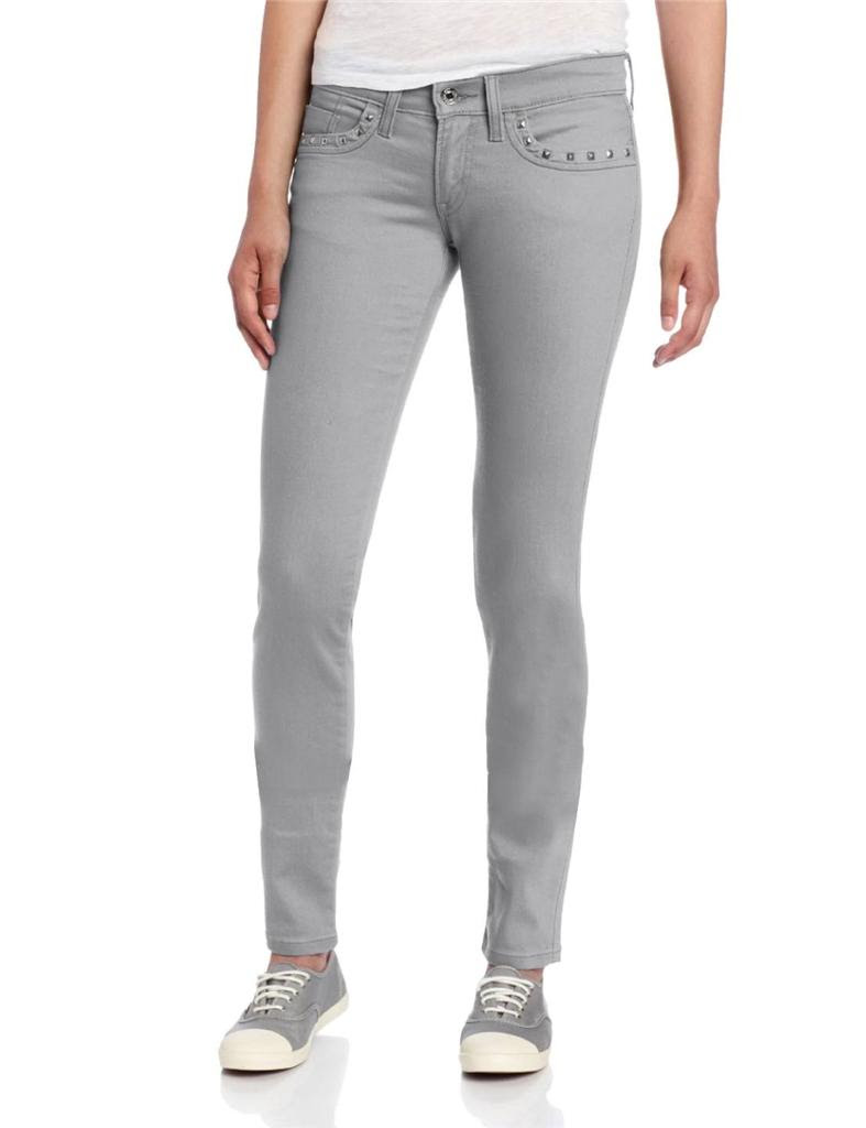 levi's juniors women 524 skinny jeans with studs grey