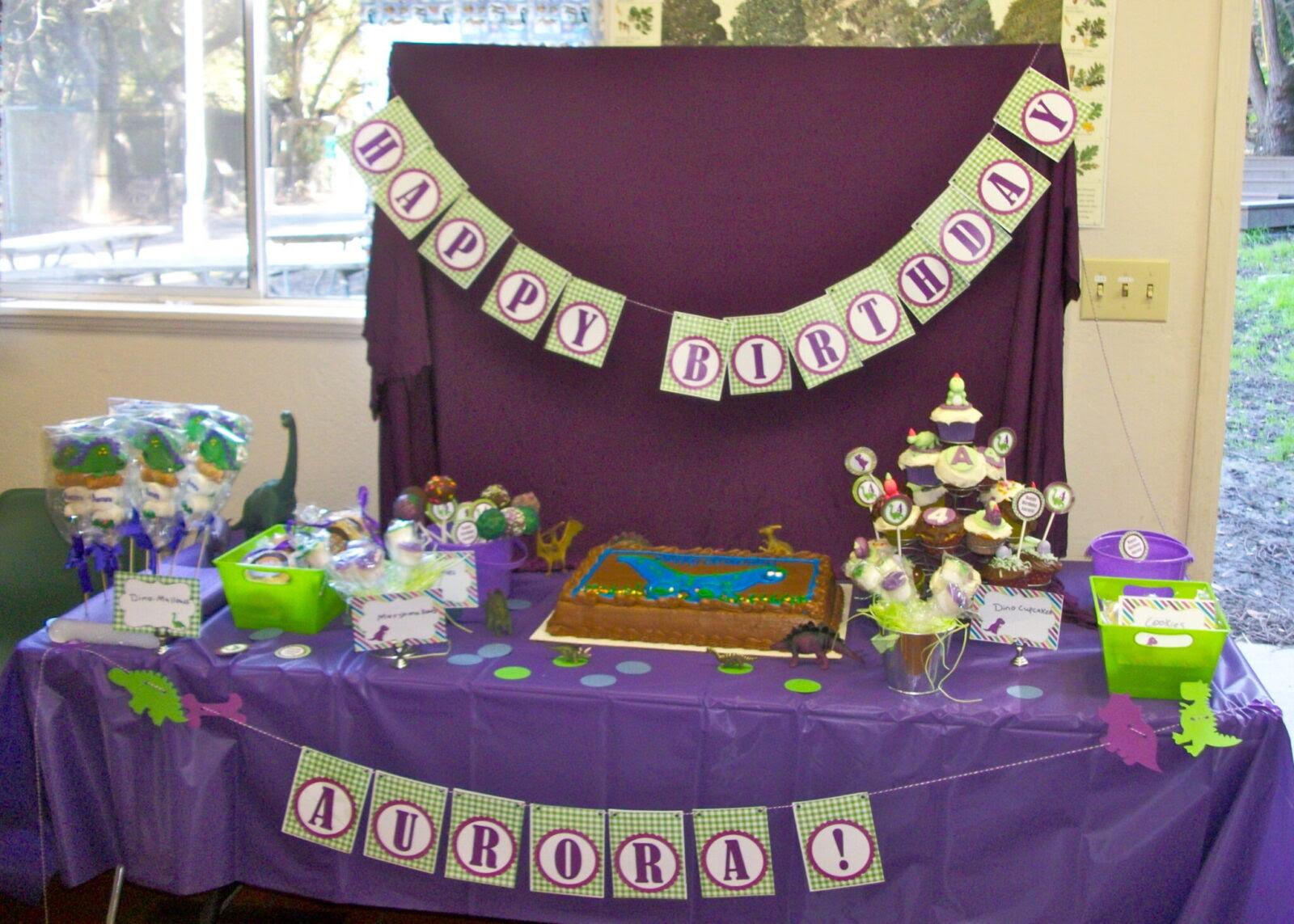 Giveaway Winner Party Purple Green Girls Dinosaur Birthday