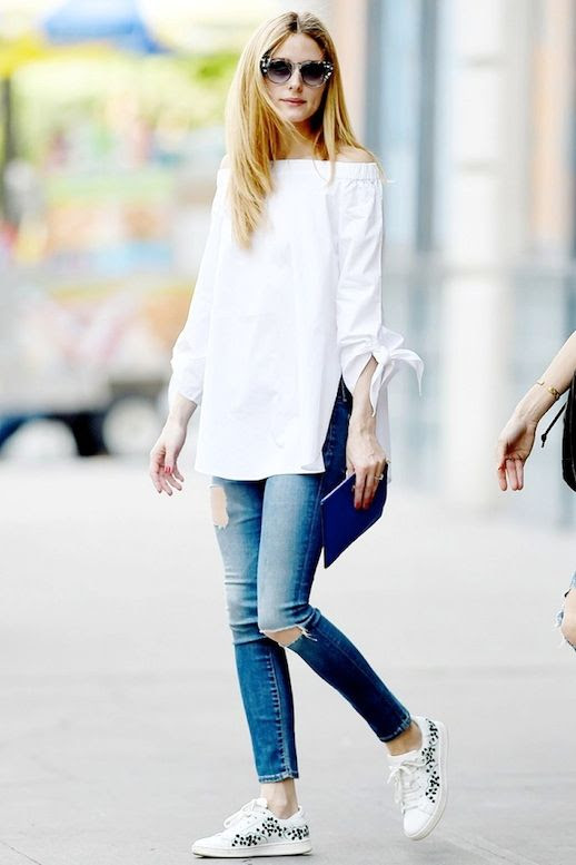 Le Fashion Blog Olivia Palermo Casual Style Cat Eye Sunglasses White Off The Shoulder Top Ripped Skinny Jeans Embroidered Floral Moncler Sneakers Via Who What Wear