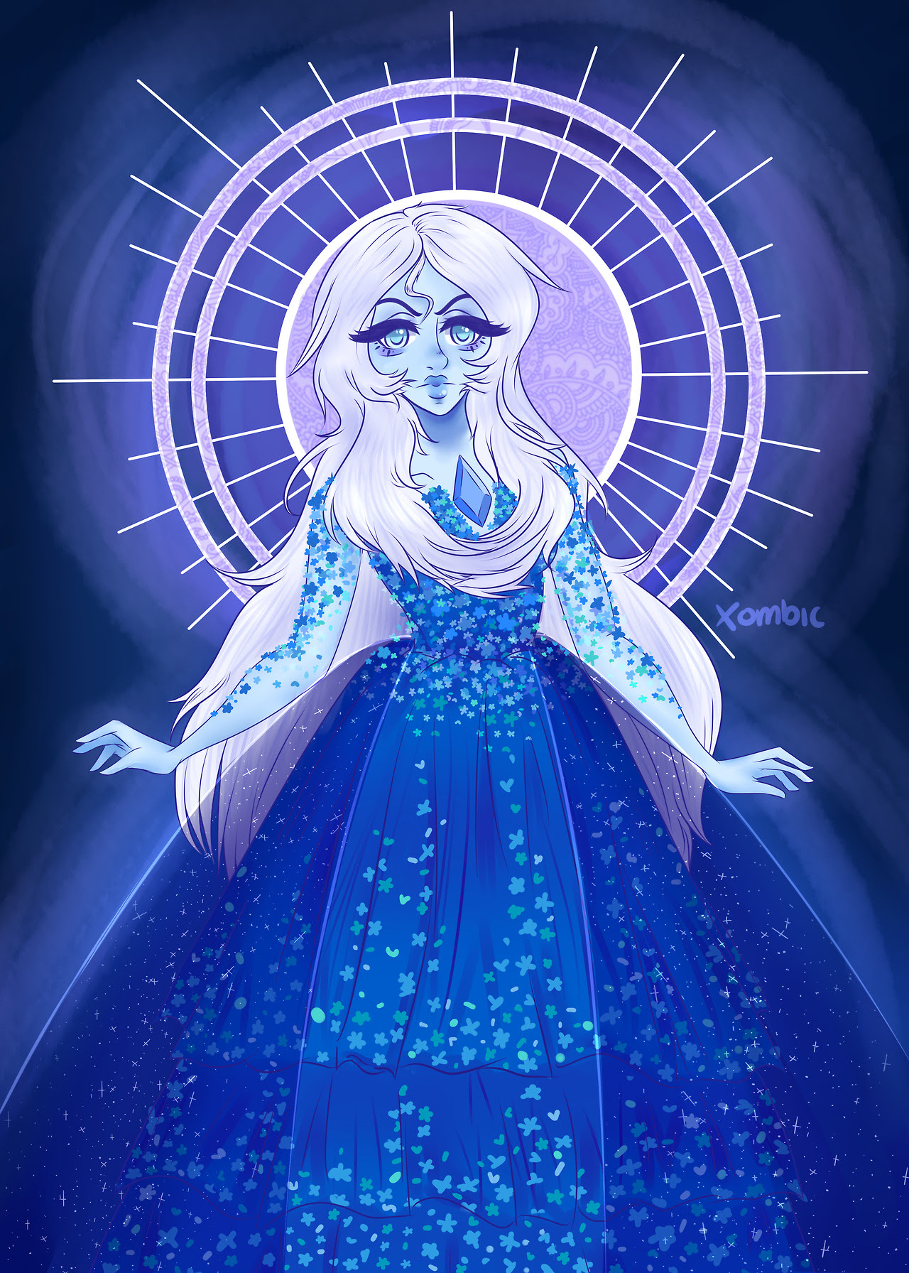 The Mage Blue diamond from SU for my Diamond authority portraits. she's so pretty, although i did like her original design more i do love this one so many flowers, so white or pink next?