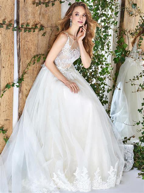 Papilio Illusion neckline ball gown wedding dress with