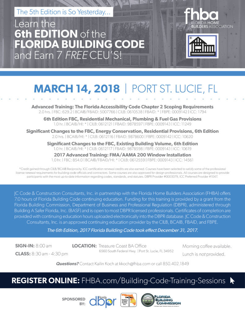 Port St Lucie Building Code Training Flyer 2018 Fhba