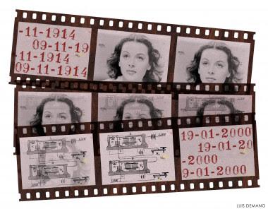 """<p>Negativos con la imagen de Lady Lamarr y uno de sus bocetos. / LUIS DEMANO, <a href=""""http://www.agenciasinc.es/Multimedia/Ilustraciones/Hedy-Lamarr-actriz-e-inventora"""" target=""""_blank"""">SINC</a></p>"""
