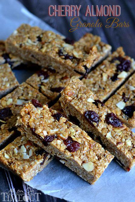 Chewy, 10-minute, NO BAKE Cherry Almond Granola Bars! | MomOnTimeout.com