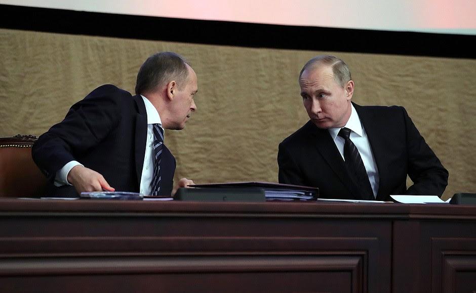 Alla riunione del consiglio del Servizio di Sicurezza Federale.  Con il direttore del Servizio federale di sicurezza Alexander Bortnikov.