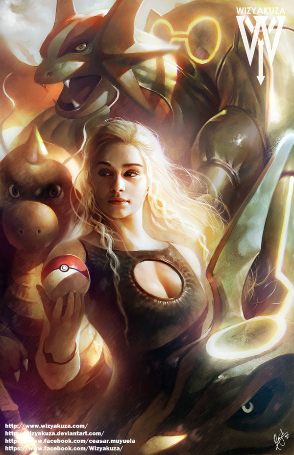 Mother of Dragons: Fantastic Digital Illustration of Daenerys Targaryen with Pokemon Crossover by Wizyakuza