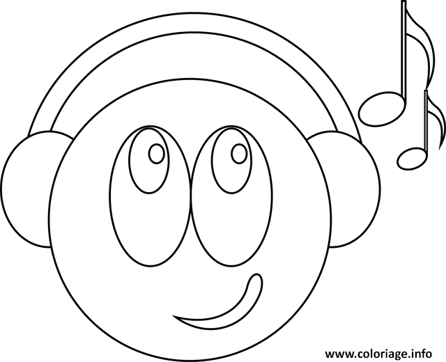 Coloriage Smiley Musicien Jecoloriecom