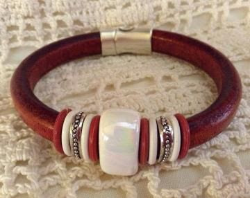 Whiskey Brown Regaliz Bracelet with White Ceramic Bead and Silver Spacers by AndBling for $22.00