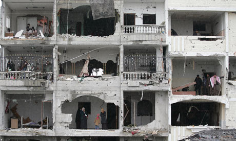 A bombed-out house in Gaza