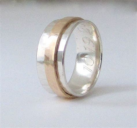 Mens Wedding Band 14k Gold Spinner Ring Mens by SilverSmack