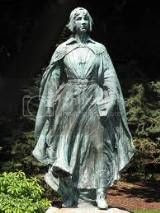 bronze statue dedicated to the young Pilgrim women on the Mayflower