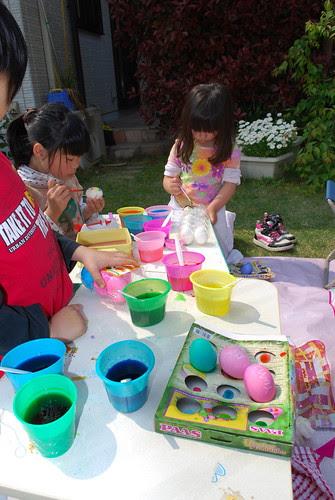 decorating eggs