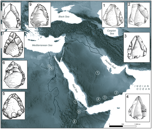 Figure 11 Distribution of main sites with Nubian cores in Eastern Africa and Arabia.