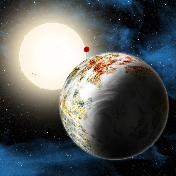 An artist's concept of the exoplanet Kepler-10c.