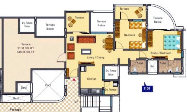 DSK Kunjaban Punawale 2 BHK Flat 11th Floor C & D Wings 636 Carpet + 474 Terrace for Rs. 38.83 Lakhs
