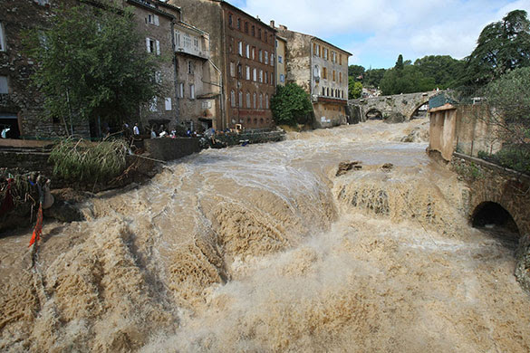 France Floods: Draguignan: The river Artuby floods