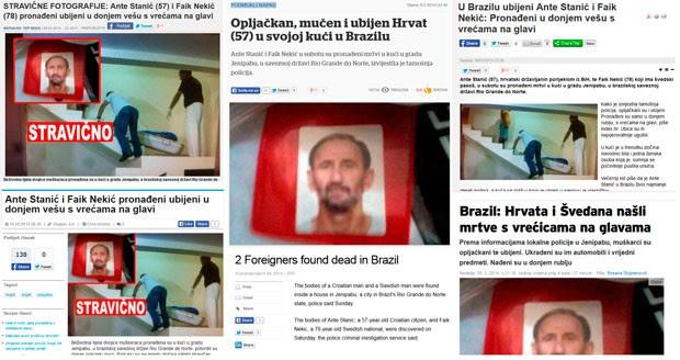 Mortes do croata Ante Stanic, de 57 anos, e do sueco Faik Nekic, de 78 anos, repercutiram na imprensa internacional (Foto: Reprodução/Internet)
