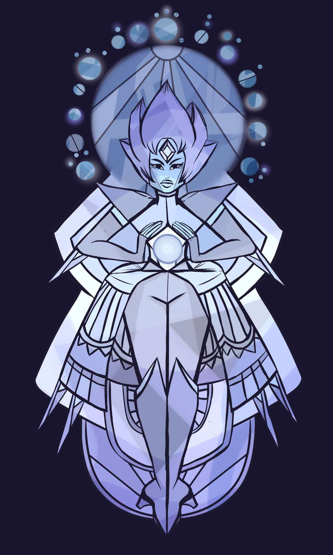 Inktober Day 24: One Dozen Technically a bakers dozen of planets but who's counting. A redraw of the white diamond mural.
