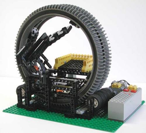 Contraption manipulador de bolas construído em Lego