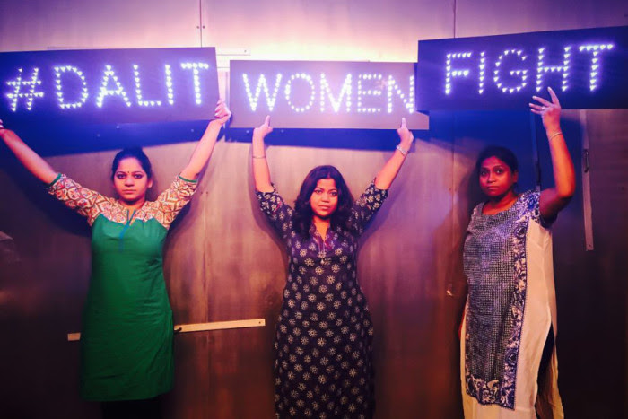 Members of the #DalitWomenFight tour, from left, Anjum Singh, Sanghapali Aruna Lohitakshi and Asha Kowtal. The tour, which is raising awareness of caste-based violence and rape in India, made three stops in Seattle last week. (Photo by Thenmozhi Soundararajan, #Dalitwomenfight)