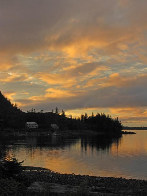 morning lights up clouds over Kasaan Harbor, Kasaan, Alaska