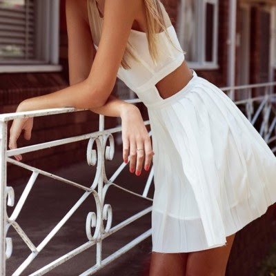WHITE DRESS. This would look great with a tan!