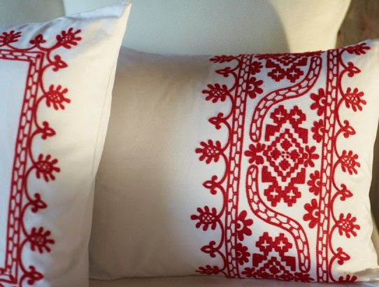 Beautiful redwork embroidered pillow | Friday Favorites at www.andersonandgrant.com