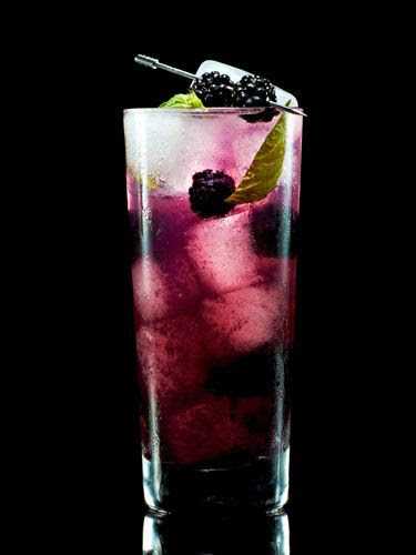 Bold Berry Bling    1 1/2 oz Pucker Vodka Raspberry Rave  3 fresh blackberries  2-3 fresh basil leaves  1 oz soda  1 oz diet lemon-lime soda    Add ice to a cocktail shaker. Gently squeeze the juice from the blackberries and add berries to shaker. Tear basil into small pieces and add. Pour in vodka and shake vigorously. Add soda, lemon-lime soda and pour into a Collins glass.