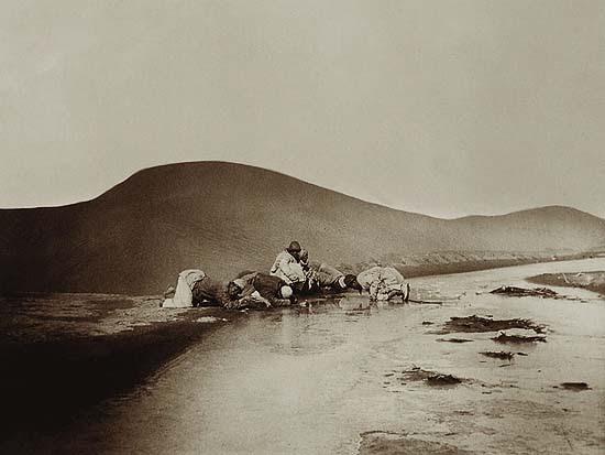 Stein Aurél munkásai a Takla Makán sivatag átszelése után isznak a Keriya folyó vizéből
