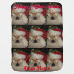 Cute akita asleep santa hat tinsel christmas dog swaddle blanket