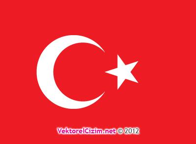 Vektörel çizim Türk Bayrağı Ay Yıldız