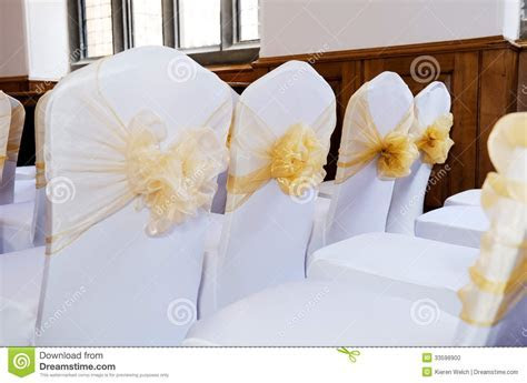 Wedding chair covers stock photo. Image of yellow