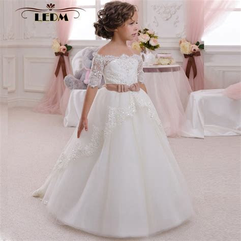 White Kids Evening Lace Half Sleeves With Belt Ball Gown