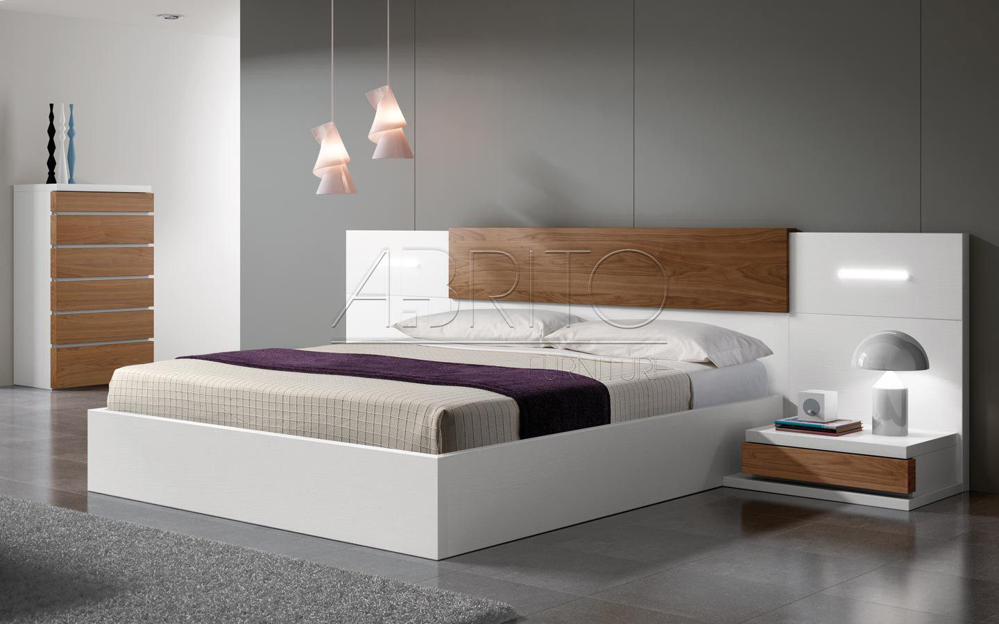 Double Bed Contemporary With In Base Storage With Integrated