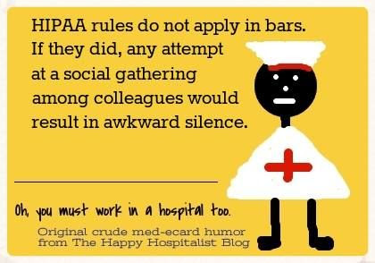 HIPAA rules do not apply in bars ecard humor photo